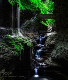 Paradisiacus by DaniloFaria  long exposure canyon moss gorge upstate polarizer shale Waterfall ND filter NY Watkins Glen Rainbow