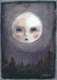 This listing is for one print of Sophia Rapatas original painting, Mulberry Moon, which was originally painted using homemade mulberry ink, watercolor & coffee. Printed on 100 lbs. Art Painting, Psychedelic Art, Surreal Art, Art Drawings, Hippie Art, Cute Art, Art, Ethereal Art, Aesthetic Art
