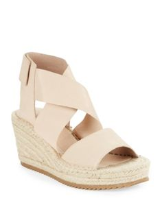 Eileen Fisher - Willow Tumbled Leather Espadrilles Platform Wedge Sandals