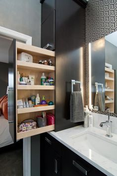 Floating shelves above toilet in small bathroom Bathroomdecor - Bathroom decor .Floating Shelves above toilet in small bathroom Bathroomdecor - Bathroom decor - bathroom bathroomdecor décor Imaginative storage ideas for the bathroom made Small Bathroom Storage, Bathroom Closet, Bathroom Design Small, Bedroom Storage, Bathroom Interior, Modern Bathroom, Bathroom Ideas, Bathroom Shelves, Small Bathrooms
