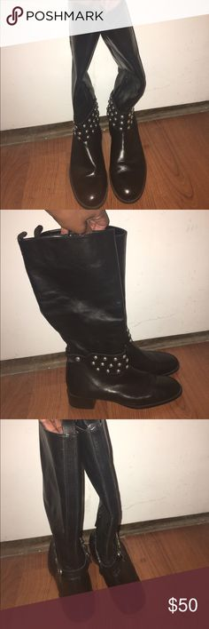 Zara Black Flat Boots Black boots with silver round studs across ankle to ankle. Riding boots. Great condition. Zara Shoes Combat & Moto Boots