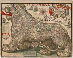 Nova XVII Provinciarum Germaniae Inferioris tabula, Leonis effigie, accurate delineata. A Nicolao Ioannis Piscatore - Visscher C.J. - Gerritsz , 1630.