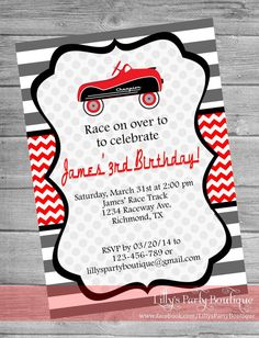 Vintage Car Digital Invitation 0077 by LillysPartyBoutique on Etsy, $15.00