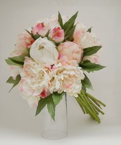 Silk Peony Bouquet Light Pink Peonies by blueorchidcreations, $75.00