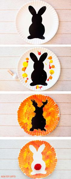Paper plate Easter bunny craft for kids. Easy art project for toddlers, preschoolers, kindergartners and older kids to use as decoration for Easter. Easy spring rabbit craft.   at Non-Toy Gifts
