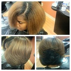 Natural color treated hair straightened