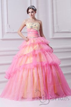 Ball Gown Strapless Organza Crystal Flounce Quinceanera Dress