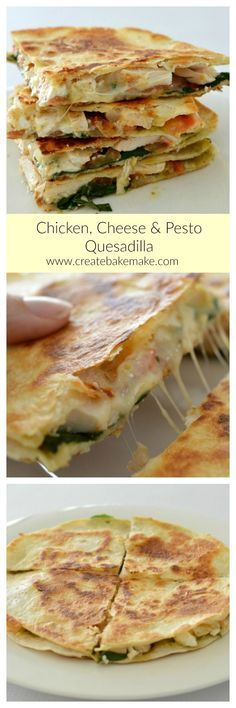 Cheesy Chicken Cheese and Pesto Quesadilla is both easy and delicious, making it the perfect simple lunch or dinner!This Cheesy Chicken Cheese and Pesto Quesadilla is both easy and delicious, making it the perfect simple lunch or dinner! Lunch Recipes, Mexican Food Recipes, Cooking Recipes, Recipes Dinner, Kraft Recipes, Dinner Ideas, Cooking Gadgets, Indian Recipes, Meal Ideas
