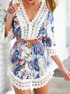 Multicolor V Neck Lace Embellished Paisley Pattern Romper Playsuit
