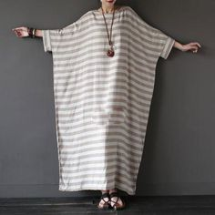Oversized Loose Fitting Long Maxi Dress, Gown, Oversized Dress, Maternity Clothi… – Linen Dresses For Women Mode Abaya, Mode Hijab, Linen Dresses, Casual Dresses, Cotton Dresses, Maxi Dresses, Sleeve Dresses, Vestidos Vintage Retro, Stripped Dress