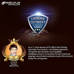 Congratulations!  To omi1979 on winning 1st prize winner of Shining Saturday Tournament!  #winner #rummy ##rummyonline #prize #cashgames #india