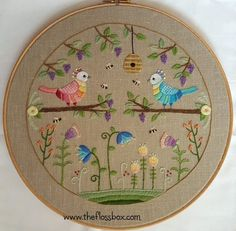 Two Birds Embroidery Pattern and Kit comes with complete instructions, Appleton crewel wool, preprinted tan linen fabric. The project is about 10 inches in diameter (fits in a 12-inch hoop). Also available as just the pattern. Thanks for visiting The Floss Box on Etsy