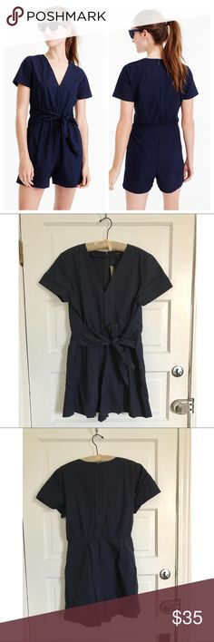 NWT J.Crew Cotton-Poplin Tie Front Romper Cute navy blue cotton romper from J.Crew with a fun tie waist! Perfect for the beach or a girls' day. I think this is best suited for a size 14. New with tags. 🎁BUNDLES ALWAYS GET 20% OFF!🎁❌NO TRADES❌NO LOWBALL OFFERS❌ J. Crew Pants Jumpsuits & Rompers