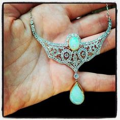 Edwardian diamond and opal necklace