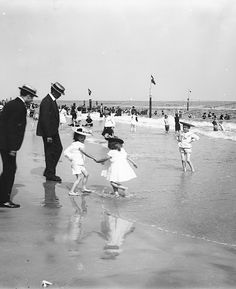 U.S. On the beach at Rockaway, N.Y., c. 1900.