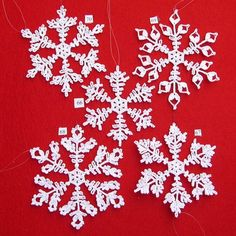 PDF Patterns for 5 Crocheted Snowflakes - set 14