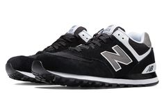 574 New Balance, Black with Grey & White
