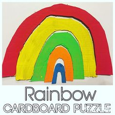 Rainbow Cardboard Puzzle {I'm loving upcycling all this cardboard and B is loving all the fun activities!} {I found this adorable idea on @three_busy_boys} #upcycle #recycle #earlyeducation #earlylearning #puzzle #diypuzzle #rainbow #cardboard #toddleractivity #toddleractivities #toddlerfun #toddlerplay #toddlerlearning #toddlerpuzzle