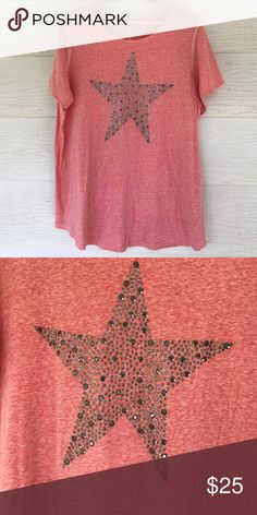 Embellished star tshirt Pounded hemline. Star on front. Pretty washed red color. Short sleeves. 25 bust 28 length. All measurements are approximate. Size 18/20 Avenue Tops Tees - Short Sleeve
