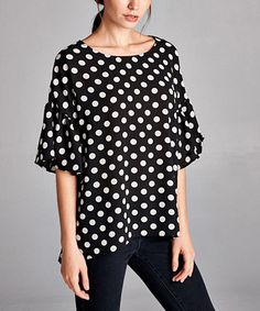 Black & Ivory Polka Dot Flutter-Sleeve Top #zulily #zulilyfinds