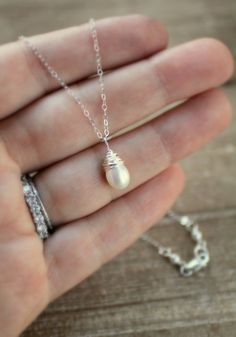 Pearl Necklace, Single Wire Wrapped Pearl Pendant, Sterling Silver, Teardrop Pearl, Bridal Jewelry, Bridal Necklace, Simple, White Pearl on Etsy, $28.50