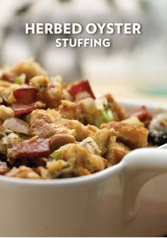 This Herbed Oyster Stuffing recipe is impressive enough to serve to your dinner guests any time of the year! They're sure to love this unique side dish.
