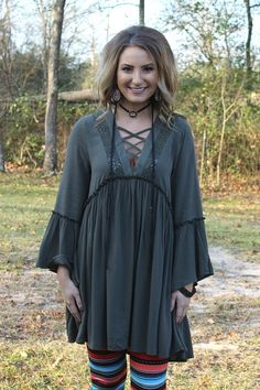 Frilled For You Bell Sleeve Tunic in Olive Green – Giddy Up Glamour Boutique