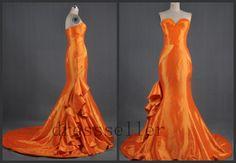 New Custom Sweetheart Strapless Orange Taffeta Long Train Mermaid Wedding Dress Sleeveless Sexy Prom Dress Gorgeous Stunning Evening Gown