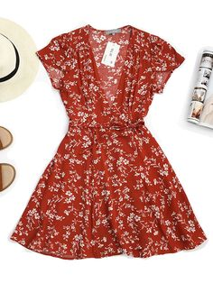 Ericdress Wrap Lace-Up Bohemian Print Women's A Line Dress, Women's A Line Dresses, Casual Dresses, Summer Dresses, Cute Comfy Outfits, Stylish Outfits, Fashion Outfits, Outfits For Teens, Dress Patterns, Pretty Dresses