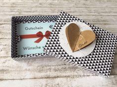 """heute möchte ich Euch Verpackungen   für Gutscheine zeigen, die ich gebastelt   habe. Dafür eignet sich die Sizzix Stanze   """"Gift-Card-Box ..."""