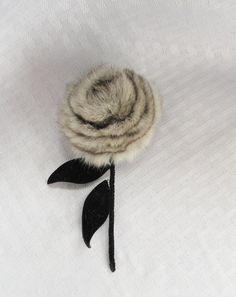 1960's Vintage Chinchilla Fur Flower Pin by MyVintageHatShop