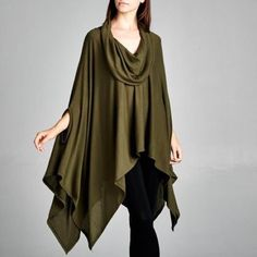 """""""Siren"""" Cowl Neck Asymmetrical Poncho Top Olive asymmetrical poncho top. Brand new. One size fits most. NO TRADES Bare Anthology Tops Blouses"""
