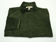 Tommy Bahama L Men's 100% Extrafine Merino Wool Sweater Green Long Sleeve Large #TommyBahama #ButtonFront