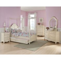 I am in love with this furniture set add some purple walls tule and lace then add a beautiful little chandelier and it will be perfect for my little princess