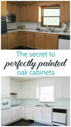 Step by step tutorial for painting oak cabinets white including the best way to . Step by step tutorial for painting oak cabinets white including the best way to get rid of the wood grain. This is one of the best ways to update kitchen cabinets! New Kitchen, Kitchen Cabinets, Kitchen Paint, Painting Cabinets, Cabinet, Oak Cabinets, Painting Oak Cabinets White, Update Kitchen Cabinets, Oak Kitchen