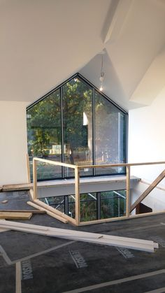 New build project in progress. Here a beautiful large glass window has been installed with Aluminium frames