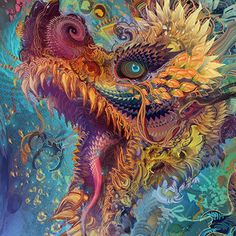 "Humming Dragon by Andrew ""Android"" Jones Android Jones, Psy Art, Retro Wallpaper, Visionary Art, Dragon Art, Psychedelic Art, Mythical Creatures, Chinese Art, Les Oeuvres"