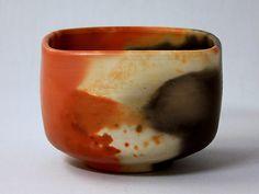 Ako-Unkayaki ware, 【squared】 matcha tea bowl. artist:NAKAMUNE-Kunihiko 赤穂雲火焼 四角抹茶茶碗  中棟州彦 作