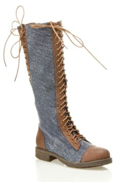 Dollhouse Europa Knee High Lace Up Riding Boot In Chestnut - Beyond the Rack $24.99
