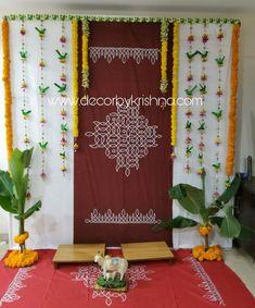Palm Leaf Parrot Strings by Décor By Krishna-Hyderabad - Wedding interests Housewarming Decorations, Diy Diwali Decorations, Home Wedding Decorations, Backdrop Decorations, Festival Decorations, Flower Decorations, Backdrops, Ganapati Decoration, Decoration For Ganpati