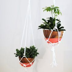 DIY Macramé Hanging planters are so easy and super affordable! They add some color and texture to any room! Click image for tutorial
