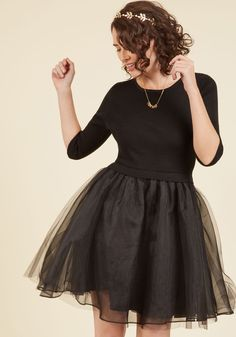 Soiree Sophistication A-Line Dress in Noir. Any good guest knows to wear something that demonstrates their best self - and this black dress is up to the task! #black #modcloth