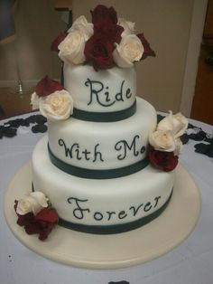 midnight magic bakery Biker/rose wedding cake