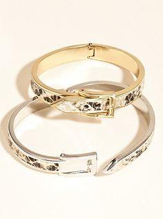 Snakeskin-Embossed Buckle Bracelets | GUESS.ca