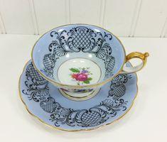 Vintage Royal Bayreuth Bone China Pedestal Teacup with Saucer in a Blue Rose Scroll Pattern by #naturegirl22 on Etsy
