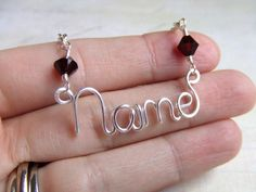 Yes, or No!!!? Swarovski Personalized Name Necklace Birthstone Custom Word Necklace Word Jewelry Wire Wrapped Jewelry Gifts