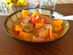 Yummy Butternut Squash, Red Bell Peppers, Onion, Cubed beef and chicken broth soup! Best served in winter :) ... but I'll eat it whenever