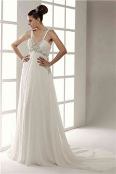 Empire V-neck Spaghetti Straps Chapel Train Chiffon Wedding Dress