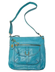 I love over the shoulder satchels! And THIS one is extra awesome because of the color. :) #purse #bag #turquoise