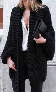 black + white. chunky cardigan.